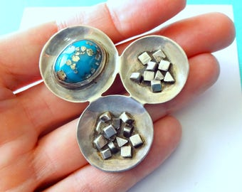 Modernist Sterling Silver and Morenci Turquoise Brooch