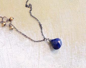 Lapis Lazuli Necklace -Gold Pyrite Necklce -Simple Boho Necklace  December Necklace -Blue Lapis Necklace - Oxidized Sterling Silver Necklace