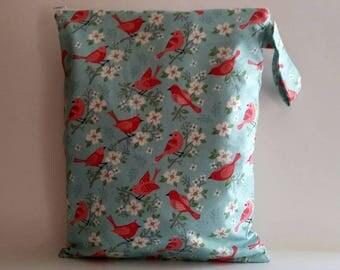 Wet Bag For Cloth Diapers,Wet Bag, Cloth Diaper Bag, Diaper Bag,Gym Bag, Red Bird