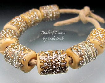 Glass Beads of Passion Leah Deeb Lampwork - 8 Rich Silvered Ivory Organic Barrels