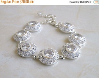 Summer Sale Bridal Bracelet CZ Rhinestone White Sterling CNB1