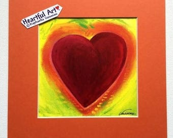 HEART Of Venezuela PRINT 8x8 Square Colorful Red Yellow Orange Wall Valentine Love Family Friendship Gift Heartful Art by Raphaella Vaisseau