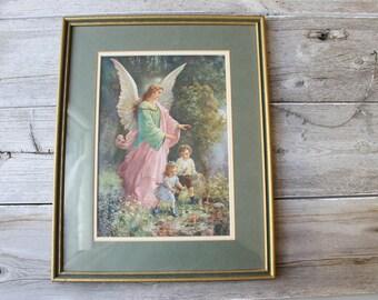 French Vintage Angel Print, Guardian Angel Print, Vintage Art, Vintage Framed Art, Vintage wall decor, framed print,boy and girl, gold frame