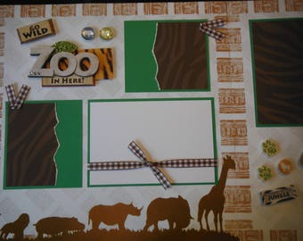2  It's a Zoo in Here!  12x12 Premade Scrapbook Pages for your family