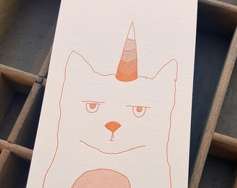 letterpress caticorn orange notepad