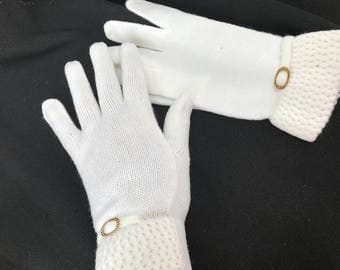 One (1) Pair of Vintage White Knit Ladies' Gloves with Gold Embellishments
