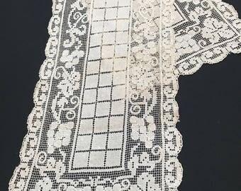 Vintage Ecru Netted Lace Table Runner or Dresser Scarf
