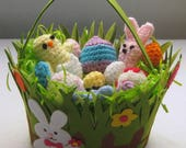 Easter Basket of Crocheted Peeps Chicks and Eggs