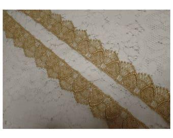 Ornate Scallop Edge METALLIC GOLD LACE Ribbon Trim - The Very Last of It!