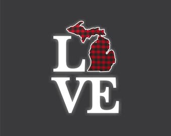 LOVE Red Plaid Michigan Decal