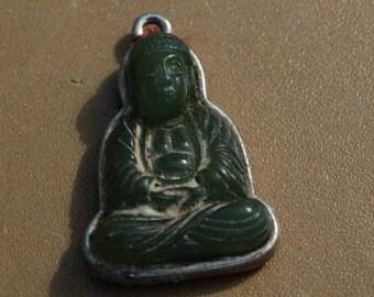 Vintage Buddha Pendant Charm, Praying Buddha charm, pendant, Good Luck Charm, Lucky Charm, Tibetan Religious Icon