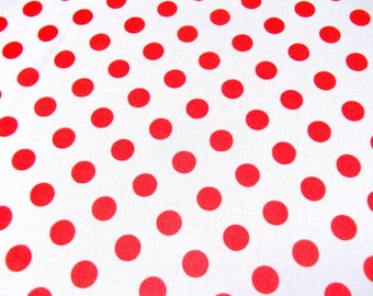 polka dot / red and white / vintage fabric / Belgium / original 60s