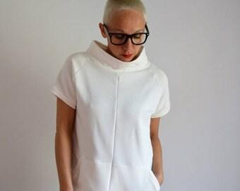 ON SALE Tunic sweatshirt,sweatshirt, sweatshirt handmade,sweatshirts,women,clothing,organic clothing,minimal clothing,short sweatshirt dress