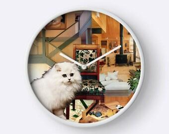 Virgo StarCat Wall Clock - Astrology Zodiac Art - August September Birthday Gift for the Cat Lover