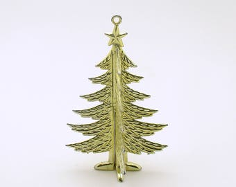 Vintage Christmas Tree Ornament Miniature Gold Tree