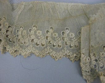 Antique Victorian early ayreshire lace trim beige handmade lace