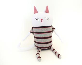 """Cat Sleepy Kitty in Pajamas """"Tom"""" Cotton Monster Plush"""