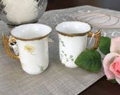 RESERVED for Yvonne B. - VINTAGE - Limoges Chocolate/Tea Cups - Set of Two