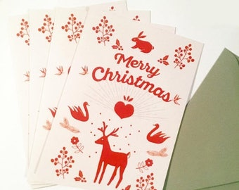 Sale Merry Christmas cards, large greeting cards with envelope, set of 4