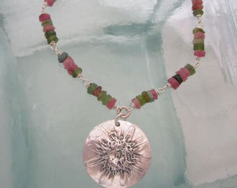 Handcrafted Silver Wildflower Necklace with Frosted Watermelon Tourmaline