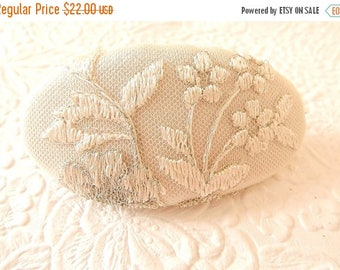 CLEARANCE - Silver white embroidered hair barrette, thick hair clip, hair accessory