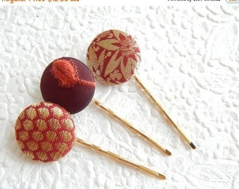 CLEARANCE - Rust hair-pins, embroidered hairpins, fabric hairpins, 1 1/8 inch hairpins, hair accessory, womens accessory