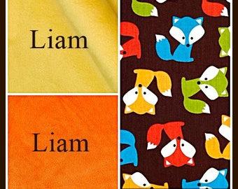 Baby Boy Fox Personalized Blanket~Shower Blankets~Monogrammed Blanket for Babies~Newborn Gift~