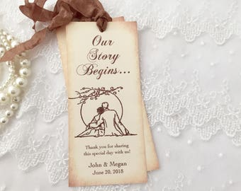 Wedding Favors Bookmarks, Romantic Sunset, Our Story Begins Favors, Set of 10