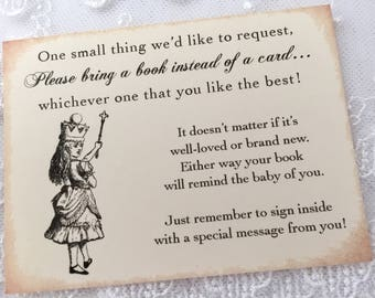 Alice in Wonderland Bring a Book Inserts, Alice Instead of a Card, Set of 10