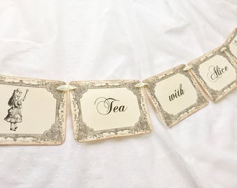 Tea with Alice Banner, Alice Tea Party Banner, Alice Banner, Alice in Wonderland Banner