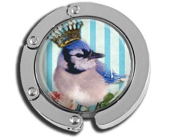 NEW just for this holiday season!! Foldable Bag Purse Hook - Crowned Blue Jay FHK107