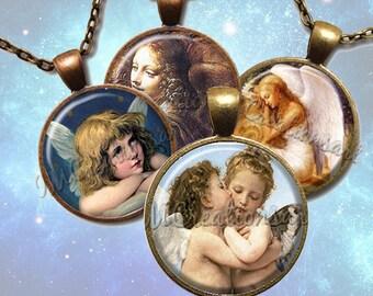 Guardian Angels Glass Pendant Necklace Jewelry Bundle Gift Party Favors Grab Bag Bulk Discount