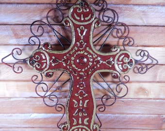 Beautiful Rustic Old World Style Cross,Metal and Ceramic Wall Cross,Rustic Mediterranean Decor Wall hanging