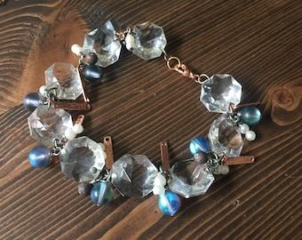 Mermaid Black Bracelet Vintage Chandelier Crystal Pearl Iridescent Beads Rose Gold Copper