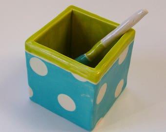 whimsical polka-dot pottery Salt Cellar turquoise & chartreuse salt dish w/ handmade ceramic spoon