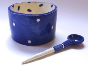 whimsical pottery Serving Bowl w/ handmade ceramic spoon delft blue & white polka-dots, salt dish, condiment dish, sugar bowl