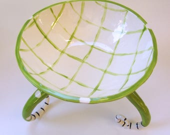 huge whimsical Green Serving Bowl :) lime green & white pottery dish with tall curly legs, polka-dots and stripes