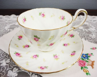 EB Foley 'Dainty Rose' Pink Rose Floral English Bone China Teacup and Saucer