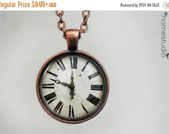 ON SALE - Clock Print : Glass Dome Necklace, Pendant or Keychain Key Ring. Gift Present metal round art photo jewelry by HomeStudio