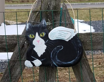 Tuxedo Cat Angel Art - Cat Yard Art - Cat Wall Art - Original Cat Art - Garden Art - Cat Sign - Cat Folk Art - Cat Memorial