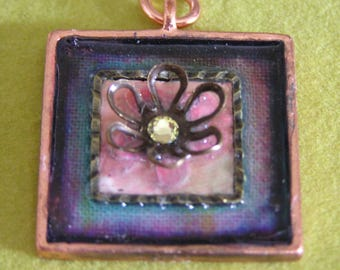 Mixed Media Copper Pendant with Flower and Swarovski Crystal