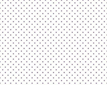 15% OFF Riley Blake Basic Lavender Swiss Dots on White