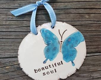 Beautiful Soul, Butterfly Design, Ceramic Plaque, Wall Sign