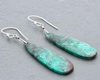 Dangle Cuprite Earrings, Blue Green Cuprite Chrysocolla Earrings, Sterling Silver, Gemstone Teardrop Pendants, Boho Style, #4819