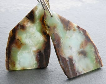 Bio Chrysoprase Earrings, Raw Edge Gemstone Slice Earrings, Green and Brown, Sterling Silver, Boho Earrings, Trapezoid Gemstone, #4826