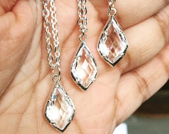 Rosecut diamond shaped silver frame necklace sets for bridal shower baby shower custom party favors with tent card