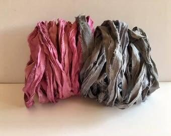 Silk Sari Ribbon-Pink & Gray Recycled Sari Ribbon-10 Yards