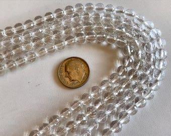 Faceted Quartz Crystal Beads-8mm Clear Quartz Bead Strand