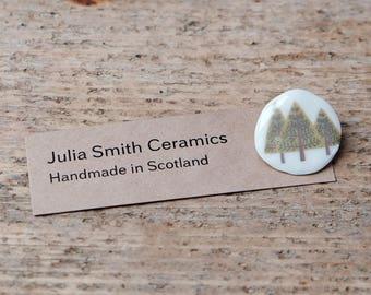 Porcelain Pine Tree Brooch