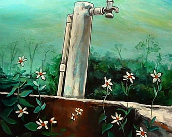 Wall Art - Original Painting - Island Art - The Water Pump - Red Bays - Andros Island, Bahamas - Leah Reynolds